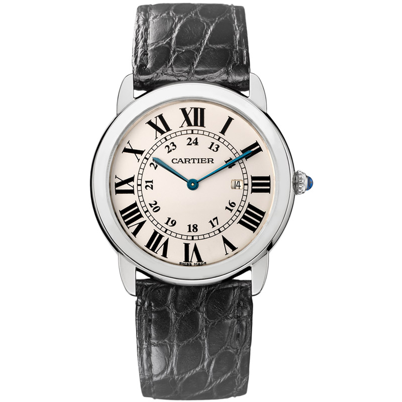 Cartier Tank Ronde Solo With Roman Numerals Amp Blue Hands