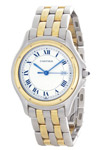 Cartier Round Panthere 18K Gold & Steel Quartz Ivory Dial Blue Hands Cabochon Crown