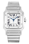 Genuine Cartier Santos with Silver Off White Dial & Black Roman Numerals