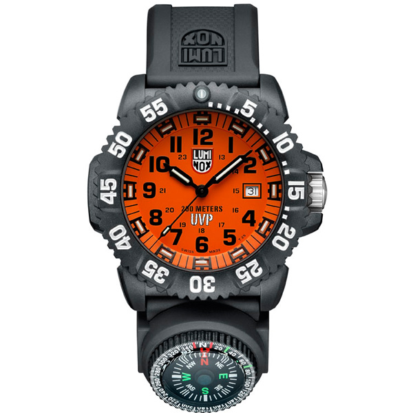 Luminox navy seal watch orange dial compass 2 extra straps for Watches with compass