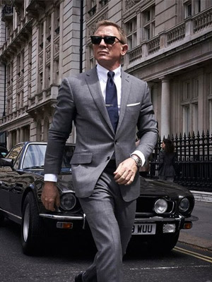 James Bond wearing gray suit