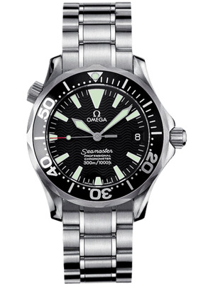 Omega Automatic Watch Seamaster with Black Wave Dial and Helium Escape Valve