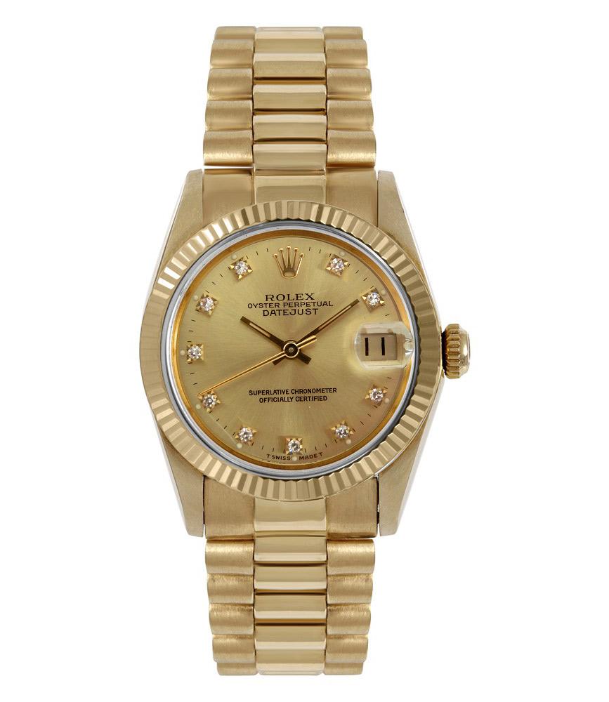 Rolex Gold Watch Lady Datejust With Diamonds 68278