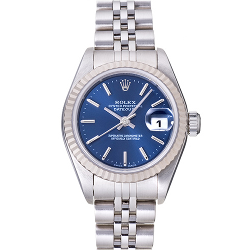 used rolex with blue 18k white gold bezel