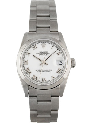 Rolex Ladies Watch Mid-size with White Porcelain Dial Roman Numerals 68240