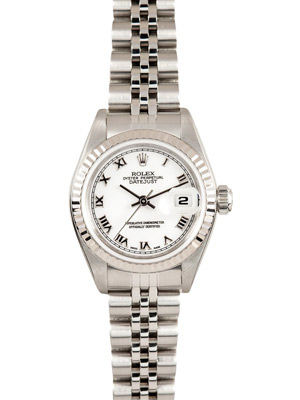 Rolex Ladies Datejust with 18K White Gold Bezel & Steel Jubilee Band