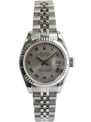 Ladies Rolex Steel 69174 26 mm with Rhodium Roman Dial