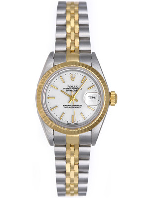 Rolex Watch Lady Datejust 18k Gold White Index Dial 79173