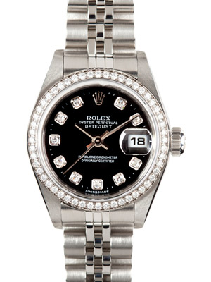 Rolex Ladies Datejust 69174 Oyster Perpetual Black Dial Diamonds