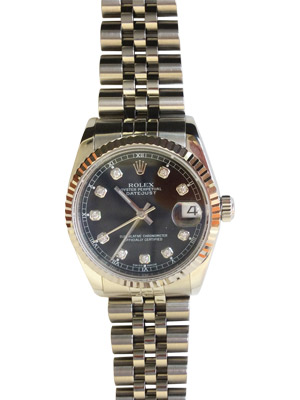 Rolex Lady Datejust 78274 Junior Size With Black Diamond Dial