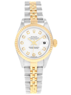 Rolex Watch Lady Date-just White Dial With Diamonds