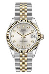 Rolex ladies Datejust with Silver Diamond Dial, Two-tone, Gold and Steel Bracelet.