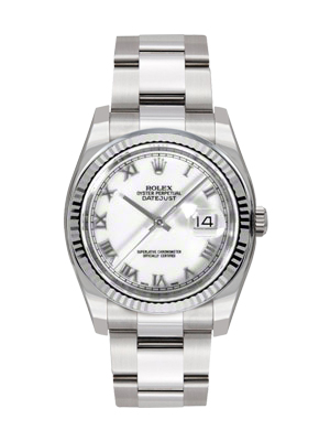 Rolex Oyster Perpetual Datejust 116234  White Roman Dial