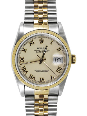 Rolex Datejust With Ivory Roman Dial 16233 Pre-owned