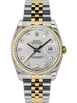 Rolex Oyster Perpetual Datejust Silver Dial Diamond Bezel