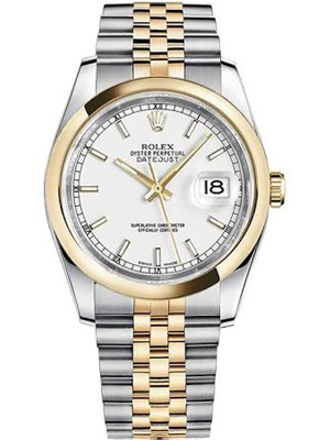 Rolex Two Tone Datejust With White Index Dial