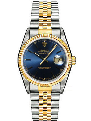 Rolex Watch Datejust Blue Dial Two Tone Date