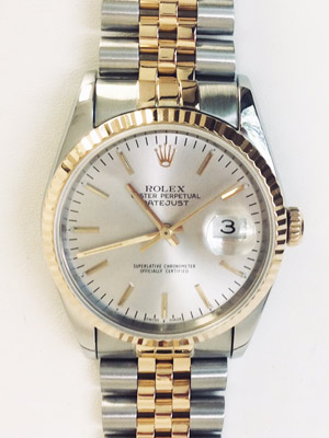 Rolex Oyster Perpetual 18K Gold & Steel Datejust Silver Dial