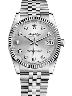 Rolex Datejust Silver Diamond Dial Jubilee Band