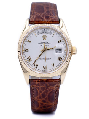 Pre-Owned Rolex Day Date Presidential 18038 18 K Gold White Dial