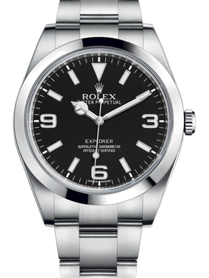 Rolex Explorer-I 39 mm stainless Steel Smooth Bezel Black Dial