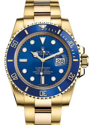 Rolex Gold Submariner Date 116618 Blue