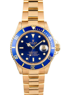 Rolex Submariner 16618 Perpetual 18K Yellow Gold Blue Dial