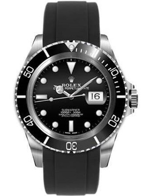 Rolex Submariner Black Dial Black Bezel. Swiss Everest Rubber Band
