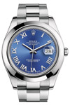 Rolex New Style Datejust II Blue Roman Dial 41mm