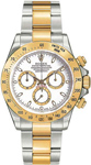 Rolex Daytona 18 Gold Steel Oyster Band White Dial