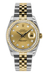 Rolex Oyster Perpetual Datejust Champagne Dial Diamond Bezel