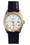 Rolex Watch Datejust Crocodile Leather Strap