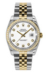 Rolex Oyster Perpetual Datejust White Diamond Dial Diamond Bezel