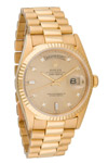 Rolex 18K Gold President with Diamond Dial