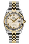 Rolex Oyster Perpetual Datejust 18K Gold & Steel Ivory Pyramid Dial