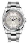 Rolex Datejust Silver Diamond Dial Oyster Band