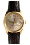 Rolex Date Solid 14K Yellow Gold Fluted Bezel Black Crocodile Leather Strap