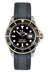 Rolex 18 K Yellow Gold & S.steel Submariner 16613 Black Dial with Rubber Band