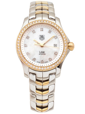 Ladies Tag Heuer Link WJF1354  MOP & Diamond Dial 18K Gold Diamond Bezel