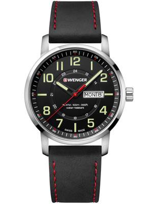 Wenger Attitude 01.1541.101 42 mm with Black Leather Bracelet Black Dial