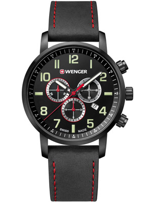 Wenger Attitude Chrono 01.1543.104 44 mm with Leather Bracelet Black Dial