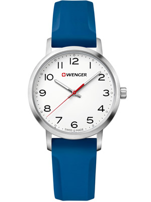 Wenger Avenue 01.1621.107 35 mm with Blue Silicone Strap White Dial