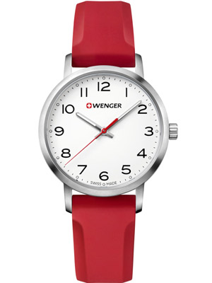 Wenger Avenue 01.1621.105 35 mm with Red Silicone Strap White Dial