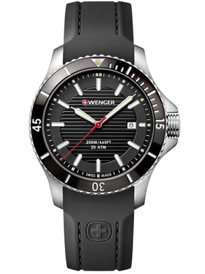 Wenger Seaforce 01.0641.117 43 mm with Black Dial Silicone Strap