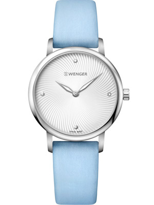 Wenger Urban Donnissima 01.1721.108 35 mm with Silver Dial Blue Satin Strap